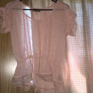 Light pink see through blouse